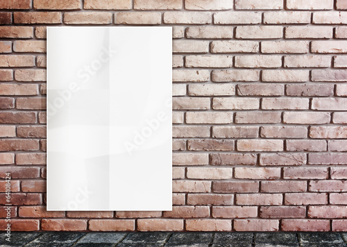 Template- White Crumple Poster on grunge brick wall & footpath g
