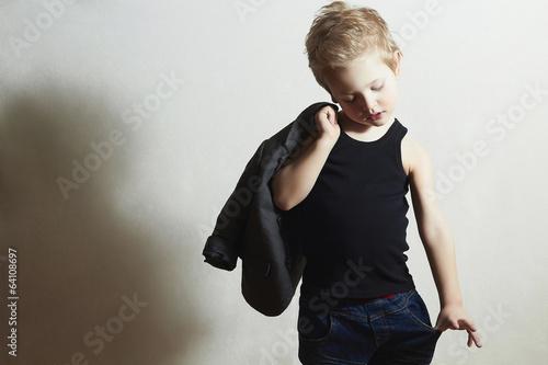 fashionable little boy.stylish haircut. fashion children