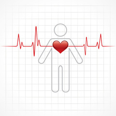 heartbeat across in man stock vector
