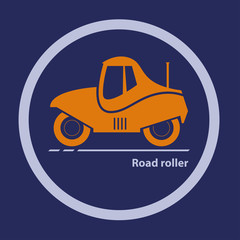 Silhouette of road roller