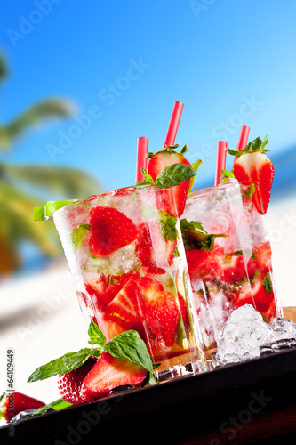 Fresh strawberry mojito drinks