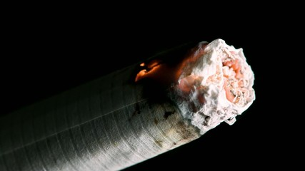 Closeup of a cigarette burning