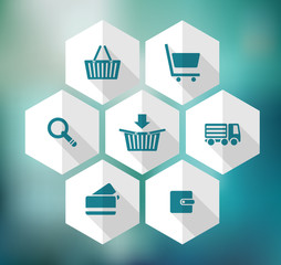 hexagonal icons for e-shop, suitable for flat design