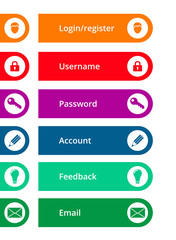 colorful rounded icons and buttons, suitable for flat design