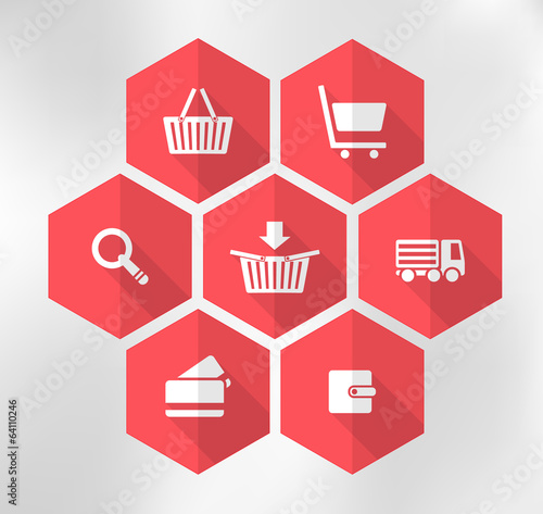 red exagonal icons for e-shop, suitable for flat design