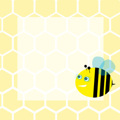 Background with honeycombs and bee, vector illustration