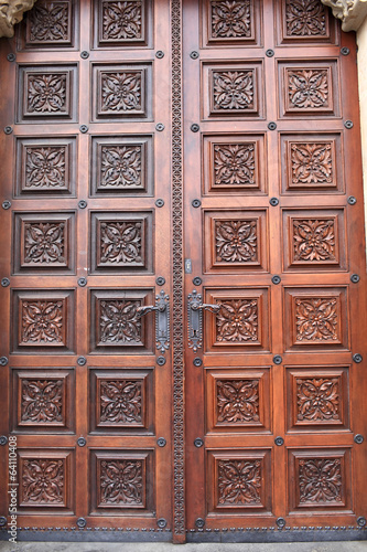 Wooden door of church of St. Ludmila