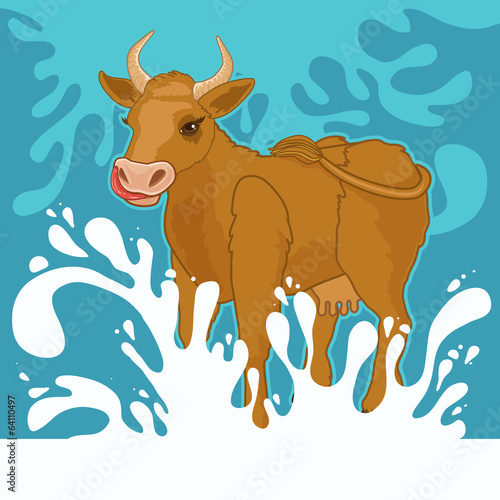 cow and milk splashes