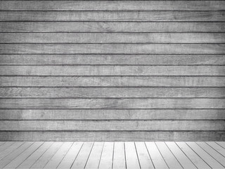 light grey stage with wooden floor and wall