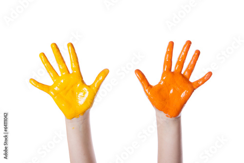 hands  colored dye