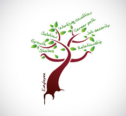employee tree growth illustration design