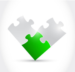 green and grey puzzle illustration design