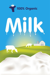 Organic milk label with splashes, cows and farm