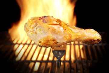 Grilled chicken leg and flaming grill, XXXL