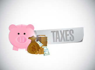 piggy bank taxes sign illustration design