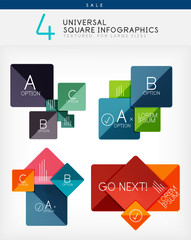 Square infographics, option banners collection