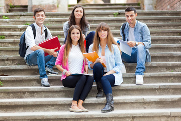 Group of students sitting outdoor