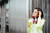 Fitness woman with detox smoothie cup poster
