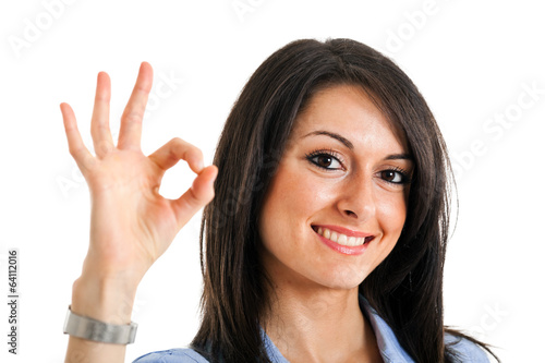 Woman doing the ok sign