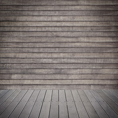 dark brown stage with wooden floor and wall