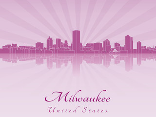 Milwaukee skyline in purple radiant orchid
