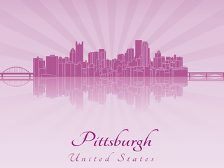 Pittsburgh skyline in purple radiant orchid