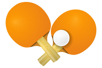 Two racket for table tennis on a white background