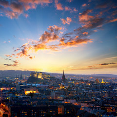 Sunset view of Edinburgh, UK