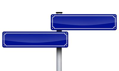 Blaues Schild Antik blanko mit lniks und rechts