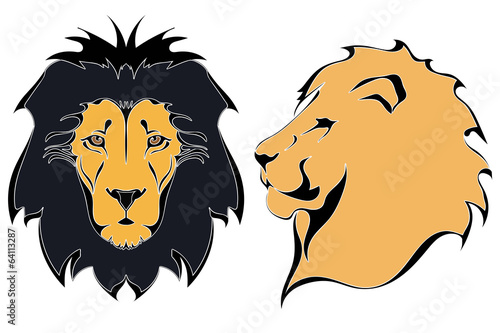 Cartoon lion heads