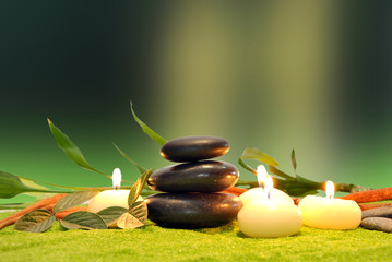 candles and stones for spa