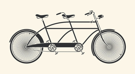 Vintage Illustration of tandem bicycle over white background