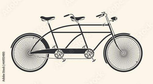 Vintage Illustration of tandem bicycle over white background - 64113480