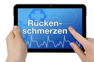 Tablet mit Interface und Rückenschmerzen