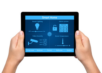 isolated men hands hold a tablet with system smart house on the