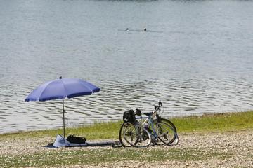 sunshade umbrella on lake Beach