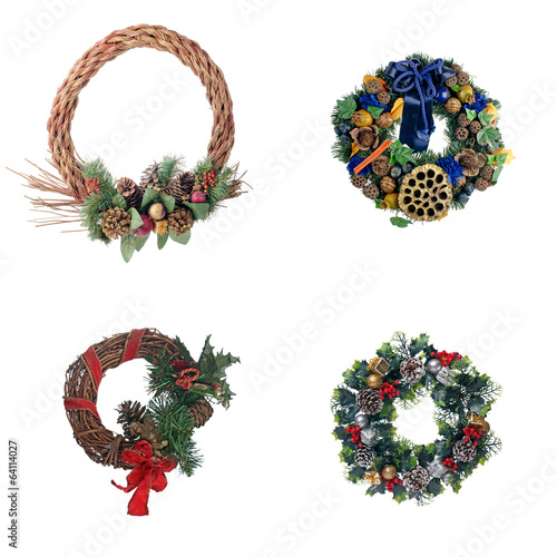 Set of four Christmas door garland
