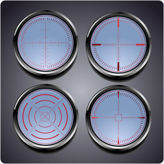 Set of four different crosshairs