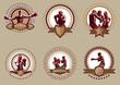 Set of six circular boxing icons or emblems - 64115025