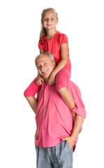 Little girl enjoying piggyback ride with her grandfather