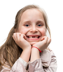 Happy toothless girl