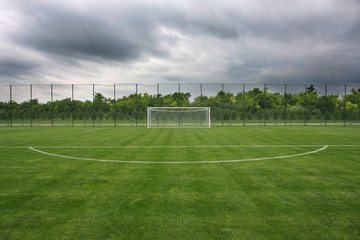 Goal at the stadium Soccer field with white lines