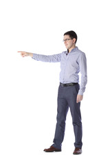 man stands in full growth points to the left on a white