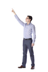 man stands in full growth pointing up  on white background