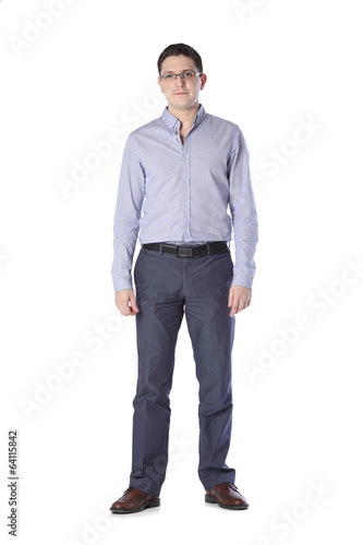 man standing on white background