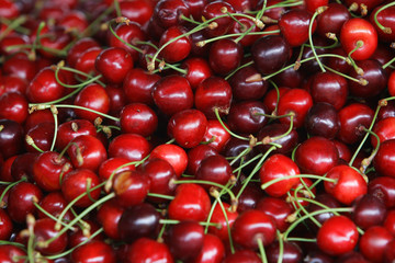 fresh cherries natural on the street market