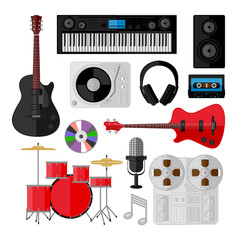 Set of music and sound objects isolated on white. Flat design