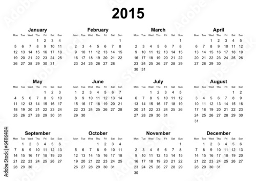 simple editable vector calendar 2015 monday firts