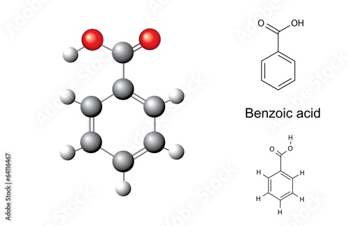 Structural chemical formulas and model of benzoic acid