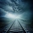 Dark Railway Track - 64117077
